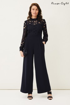 Phase Eight Blue Gayle Lace Bodice Jumpsuit