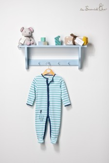 The Essential One Baby Boys Sleepsuit In Grey/Navy Stripe
