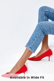 Red Asymmetric Kitten Heels