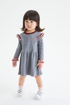 Grey Peplum Tipped Jumper Dress (3mths-7yrs)