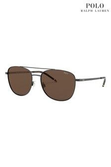 Polo Ralph Lauren Gunmetal/Brown Sunglasses