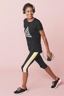 Black Short Sleeve Sports T-Shirt