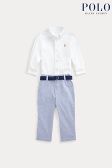 Ralph Lauren White Shirt And Blue Trousers Set