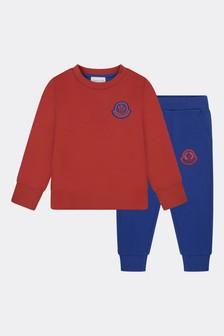 Boys Red Cotton Tracksuit