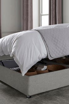 Wool Blend Grey Ottoman Storage Divan