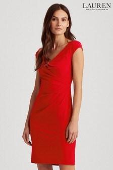 Lauren Ralph Lauren Red Stretch Brandie Dress
