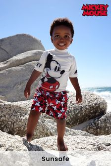 Red Mickey Mouse™ Rash Vest And Shorts Set (3mths-8yrs)