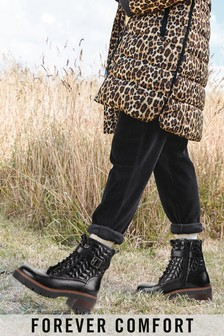 Black Forever Comfort® Quilted Lace-Up Heeled Boots