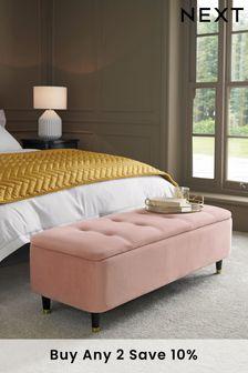 Opulent Velvet Blush Stella Ottoman Bench