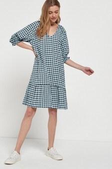 Blue Check Mini Swing Dress