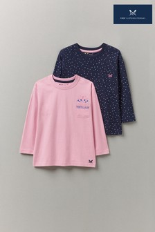 Crew Clothing Company Pink Long Sleeve Spot T-Shirts Two Pack