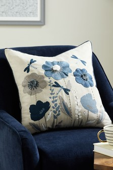Navy Blue Wildflower Spring Floral Cushion