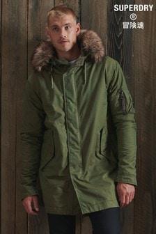 Superdry Service Faux Fur Trim Parka Coat