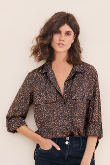 Tan Animal Print Utility Shirt