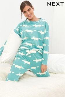 Teal Mr Fox Scion At Next Cotton Jersey Pyjamas