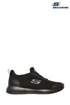 Skechers® Black Squad Slip Resistant Trainers Wide Fit