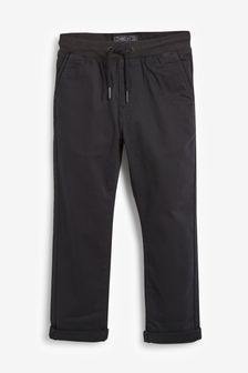 Black Regular Fit Rib Waist Pull-On Trousers (3-16yrs)