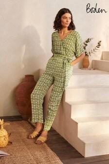 Boden Green Alice Wrap Jumpsuit