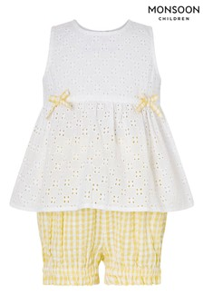 Monsoon Baby Broderie Top And Gingham Shorts Set