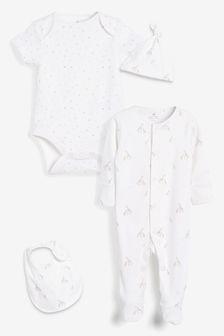 White Cotton Giraffe Sleepsuit, Bodysuit, Bib & Hat Set (0-6mths)