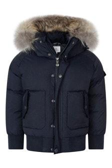 Boys Navy Water Repellent Jami Faux Fur Jacket