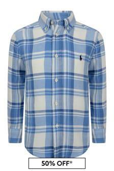 Boys Blue Check Cotton Shirt