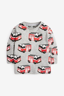 Grey Long Sleeve Fire Engine Printed T-Shirt (3mths-7yrs)