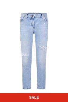 Girls Light Blue Distressed Denim Jeans