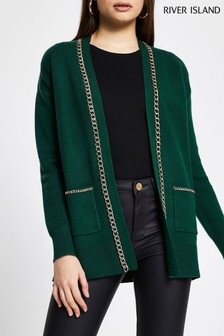 River Island Green Dark Chain Cardigan