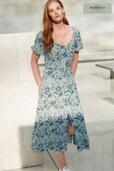 Morris & Co. at Next Blue Rose Button Front Midi Dress