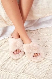 Cream Crossover Cork Faux Fur Slider Slippers
