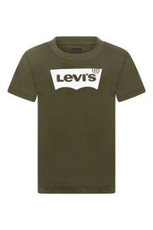 Boys Khaki Cotton Batwing Logo T-Shirt