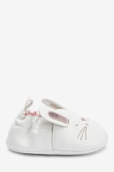 White Bunny Slip-On Pram Shoes (0-18mths)