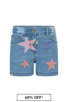 Girls Blue Cotton Blend Shorts