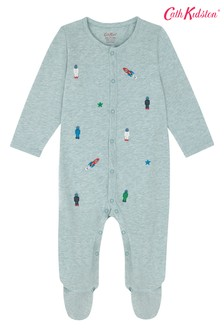 Cath Kidston® Blue Small Space Robots Sleepsuit