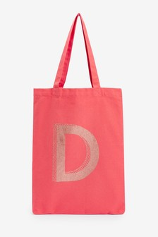 Coral Initial Reusable Canvas Bag-For-Life
