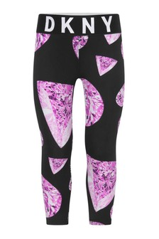 Girls Black/Pink Diamond Print Leggings