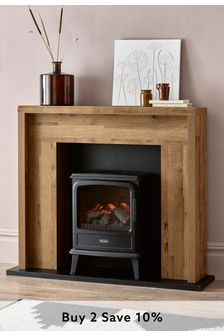 Oak Effect Bronx Compact Fire Surround