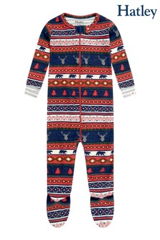 Hatley Fairisle Pattern Stags Organic Cotton Footed Coverall