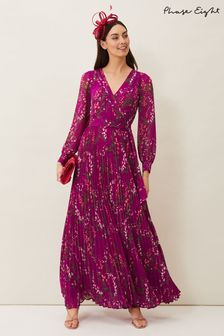 Phase Eight Purple Carmen Pleated Maxi Dress