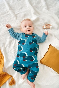 Teal Car Jersey Dungaree And Bodysuit Set (0mths-2yrs)
