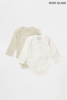 River Island Beige Rib Babygrows Two Pack