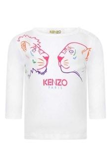 Girls White Jersey Long Sleeve T-Shirt
