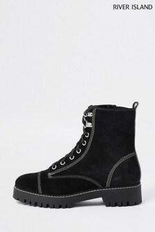 River Island Black Contrast Stitch Lace Boots