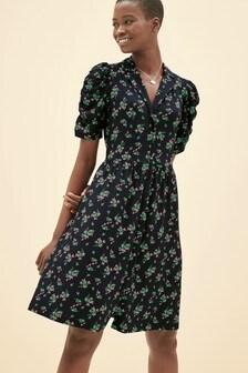 Black Floral  Button Shirt Dress