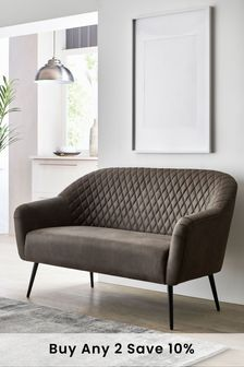 Monza Faux Leather Charcoal Hamilton Small Sofa With Black Legs