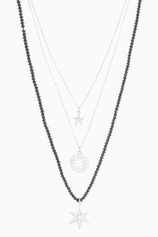 Silver Tone/Black Star Multi Layer Necklace