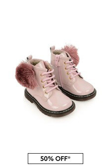 Girls Pink Patent Leather Pom Pom Boots