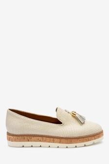 White Snake EVA Cork Leather Slipper Shoes