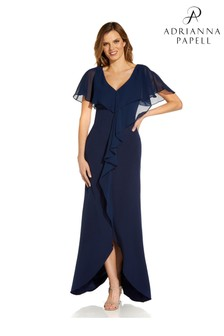 Adrianna Papell Navy Crepe Chiffon Gown